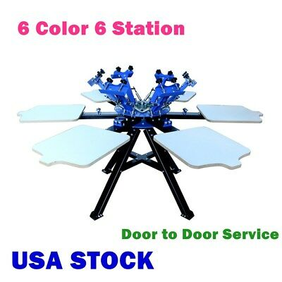 Usa-6 Color 6 Station Silk Screen Printing Press Printer T-shirt Print Equipment