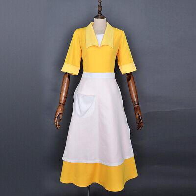 Yellow Dress Costume (Yellow Maiden Dress Princess Cosplay Housemaid 3 Pcs Costume Dress)