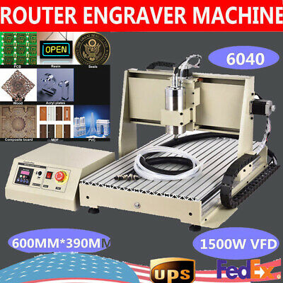 1.5kw 3 Axis 6040 Cnc Router Engraver Engraving Drilling Milling Machine Cutter