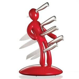 BRAND NEW VOODOO MAN KNIFE BLOCK SET WITH 5 QUALITY STAINLESS STEEL KNIVES RED