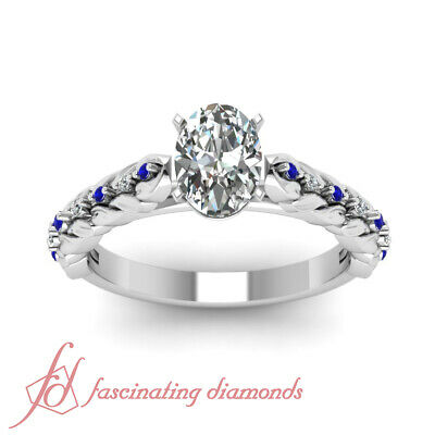 1 Ct Oval Shaped Diamond & Round Sapphire Platinum Engagement Rings For Her GIA 1