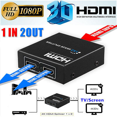 Full HD HDMI Splitter 1x2 Port Amplifier Repeater 3D 1080p Female Switch Box Hub