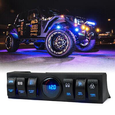 Xprite 6 Gang Rocker Switch Panel LED Lights Control for 09-18 Jeep Wrangler JK