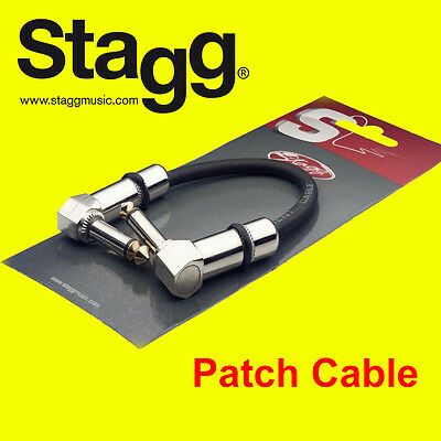 """Stagg GUITAR FX PEDAL PATCH CABLE LEAD 4""""/10cm With Angled Jacks SPC010LDL"""