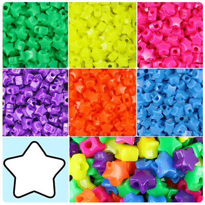 BeadTin Neon Bright 13mm Star Pony Beads (250pcs) - Color choice](Plastic Star Beads)