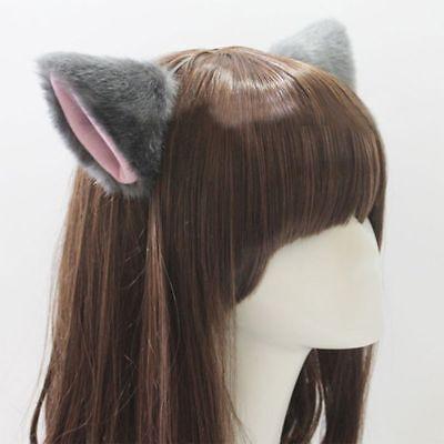 Cute Cat Fox Long Fur Ears Neko Costume Hair Clip Halloween Orecchiette Headwear