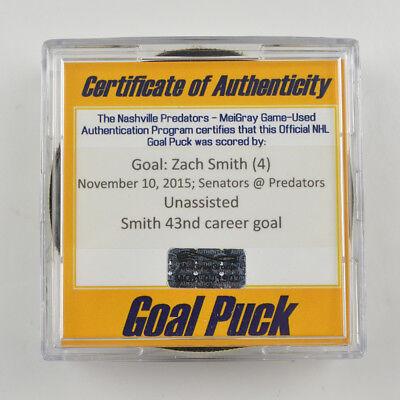 2015-16 Zach Smith Ottawa Senators Game-Used Goal-Scored Puck -Preds Logo