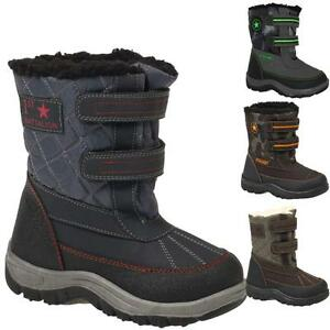 Boys-Kids-Winter-Casual-Mucker-Wellington-Warm-Fur-Snow-Ankle-Boots-Shoes-Size