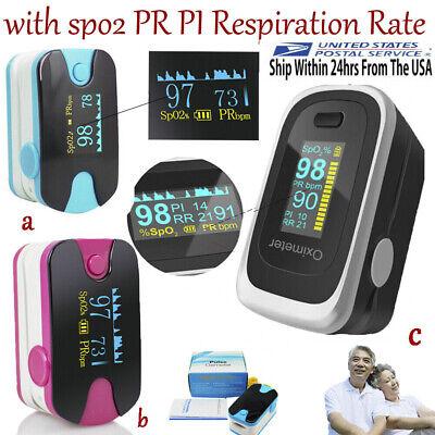 Oled Fingertip Pulse Oximeter Heart Rate Monitor Spo2 Pr Pi Respiration Fda Ce
