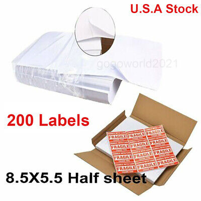 200 Shipping Labels 8.5x5.5 Half Sheets Blank Self Adhesive 2 Per Sheet Ups Usps
