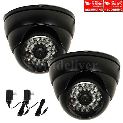 2x Security Cameras w/ SONY Effio CCD 700TVL IR LED Night Wide Angle & Power CN0