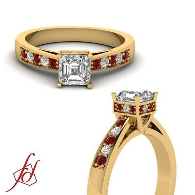 Pave Set Diamond Rings 3/4 Ct Asscher Cut And Ruby Gemstone 18K Yellow Gold GIA