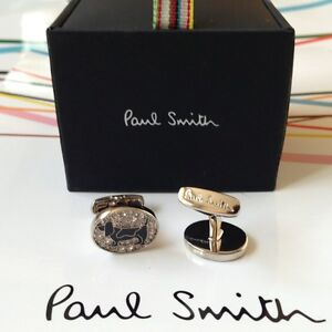 Genuine PAUL SMITH Basset Hound Dog Crystal Cufflinks - New in Box - Super Gift