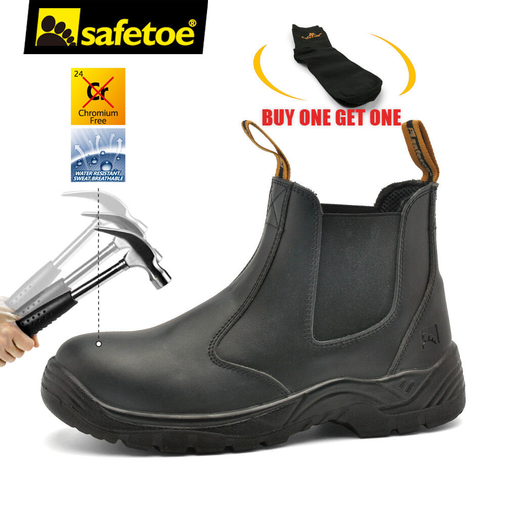 Safetoe Safety Work Boots Mens Steel Toe Black Leather Water Resistant Slip on 1