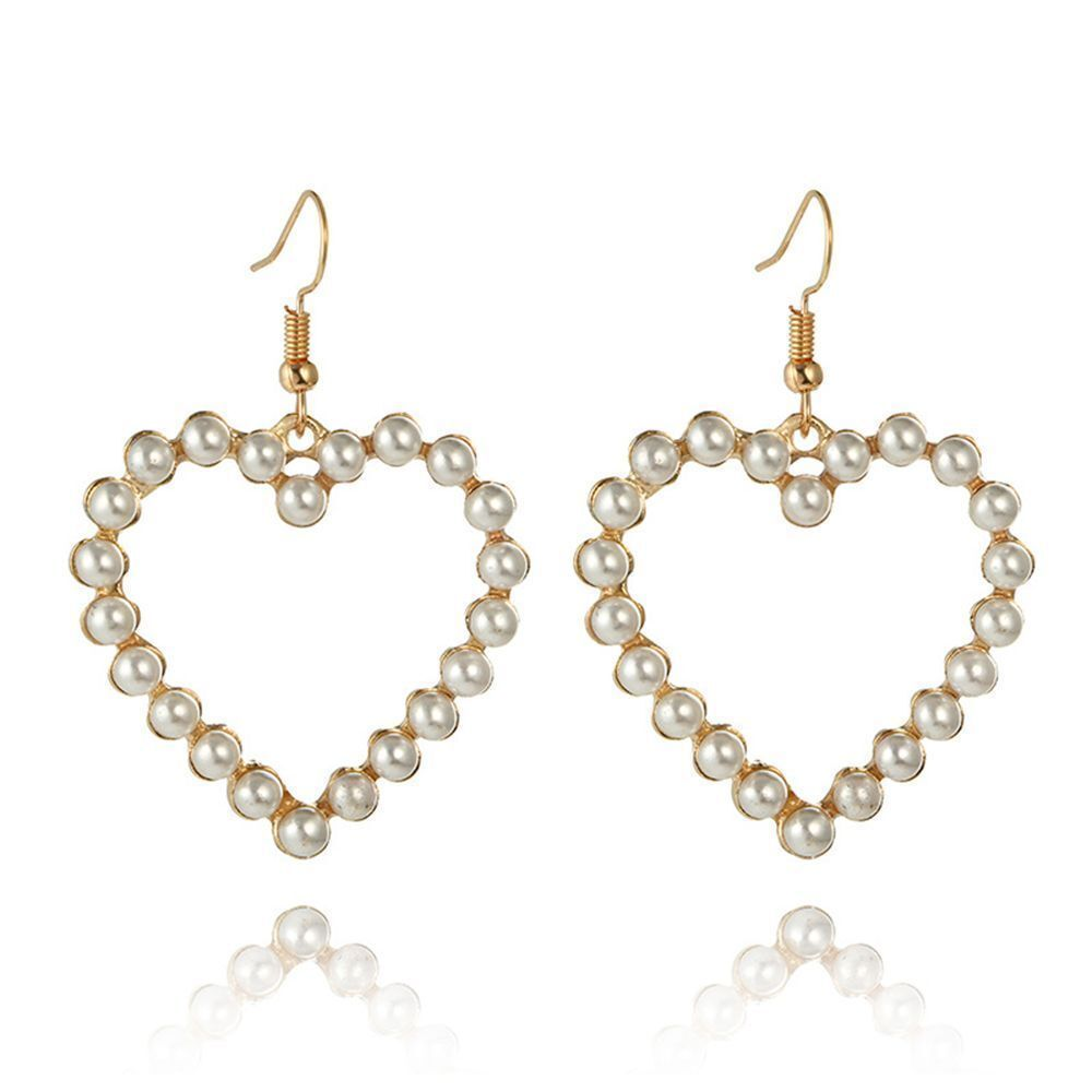 Pretty New Gold Hollow Heart-Shaped Pearl Hook Dangle Drop Earrings