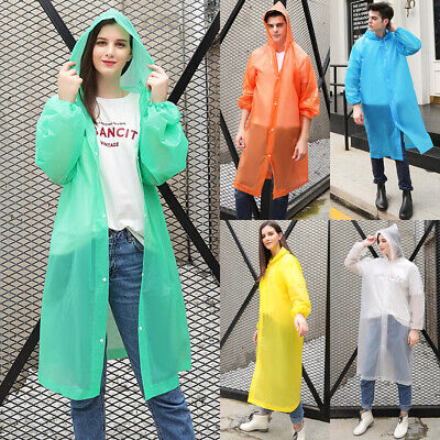 NEW Men Women Waterproof Jacket PE Hooded Raincoat Rain Coat Poncho Rainwear US