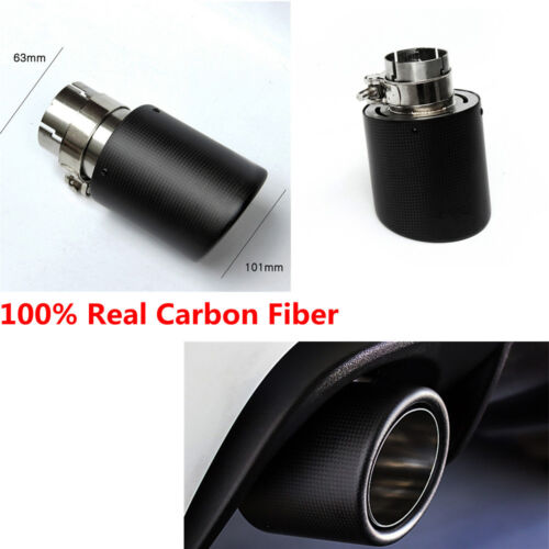 100% Real Carbon Fiber Stainless Steel Exhaust Pipe Tips for Car Rear 63MM 101MM