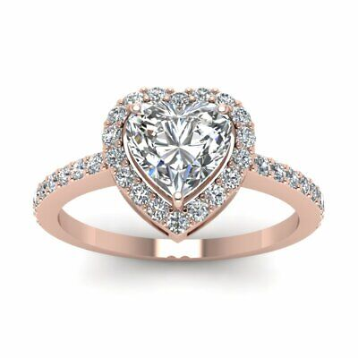 Heart Shaped 3/4 Ct Halo Diamond Engagement Rings 14K Rose Gold GIA Certified 1