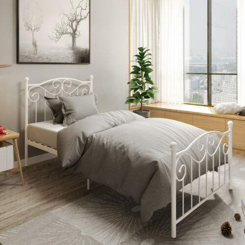 Single Metal Bed Frame Twin Vintage Bedstead Box Spring Repl