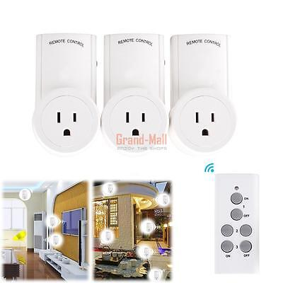 3 Pack Socket Home Plug Wireless Remote Control Power Socket Outlet Light Switch