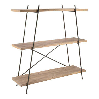 3-tier Floor Shelving Display In Metal And Cedar Wood 60.6 H Inches