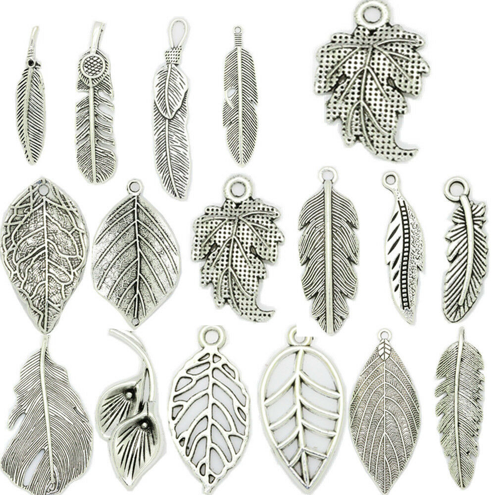 20pcs Feather Tibetan Silver fit Pendants bracelet Charms Finding DIY