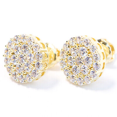 Men's Round Circle 14K Gold Cubic Zirconia CZ Cluster Stud Earrings