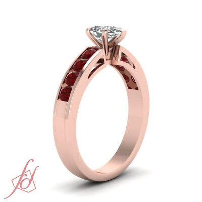 1.50 Carat Ruby And Pear Shaped Diamond Anniversary Ring In 14K Rose Gold GIA 2