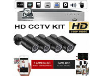 HD CCTV Security Camera Kit. 4x HD Cameras, HD DVR with Hard Drive, Cables. Full Kit.