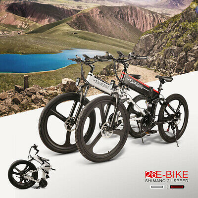 SAMEBIKE 26Inch Folding Electric Bike Bicycle E-Bike 48V 350W 10AH 21 Speed E6C3