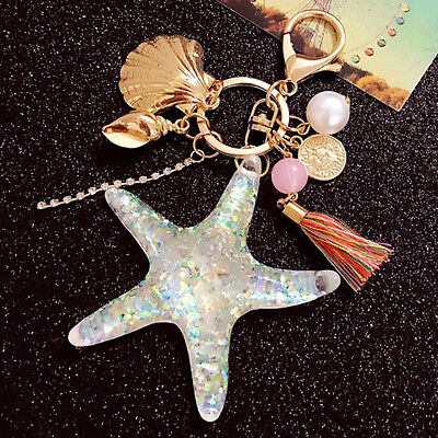 - Starfish Pearl Shell Key Ring Chain Keyfob Crystal Pendant Keyring Keychain Hot
