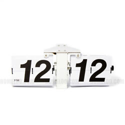 Retro Modern GIANT Large Jumbo Big Number Auto Flip Wall Clock White