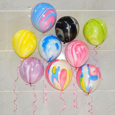 10Pcs Agate Latex Balloons Rainbow Marble Wedding Birthday Party Xmas Decor 12'' - Rainbow Party Decor