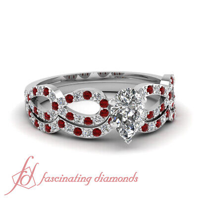 1 TCW. Pear Shaped G-Color Diamond & Round Red Ruby Bridal Rings Set 14K SI2 GIA