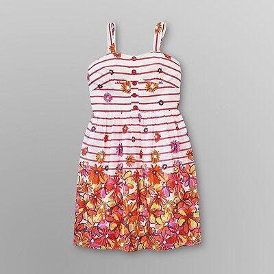 NWT Speechless Girls 7-16 White Pink Orange Floral Striped Summer Dress Sundress - Girls Summer Dresses 7 16