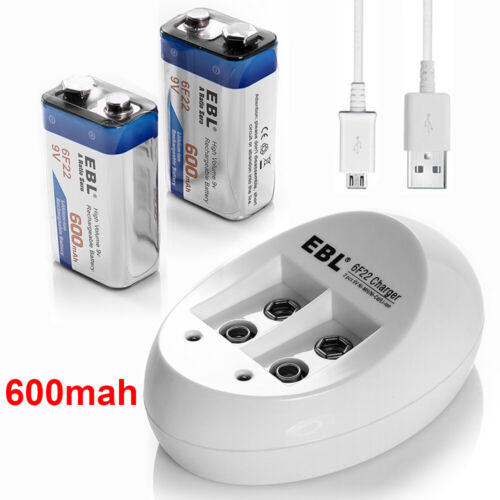 2x 9V 600mAh Li-ion Rechargeable Battery + USB Lithium-ion 9-Volt Dual Charger