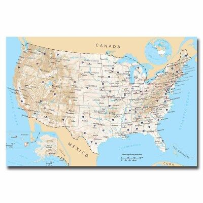 Us United States Road Map 20X30inch Silk Poster Large Size Wall Decoration Hot