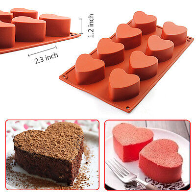 Heart Cupcake Pan - 8-Cavity Heart-shaped Silicone Pudding Chocolate Mold Cupcake 3D Baking Cake Pan