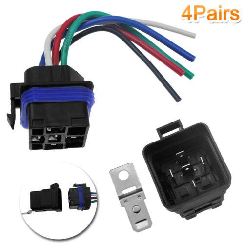 4pcs//Set 12V 40 Amp 5 Pin 5 Wire Relay Plug Socket Heavy Duty 40A Waterproof US