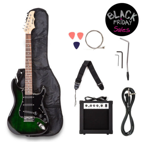 Electric Guitar w/ Guitar Case,15 w AMP,Strap & Pick Steel Strings Green