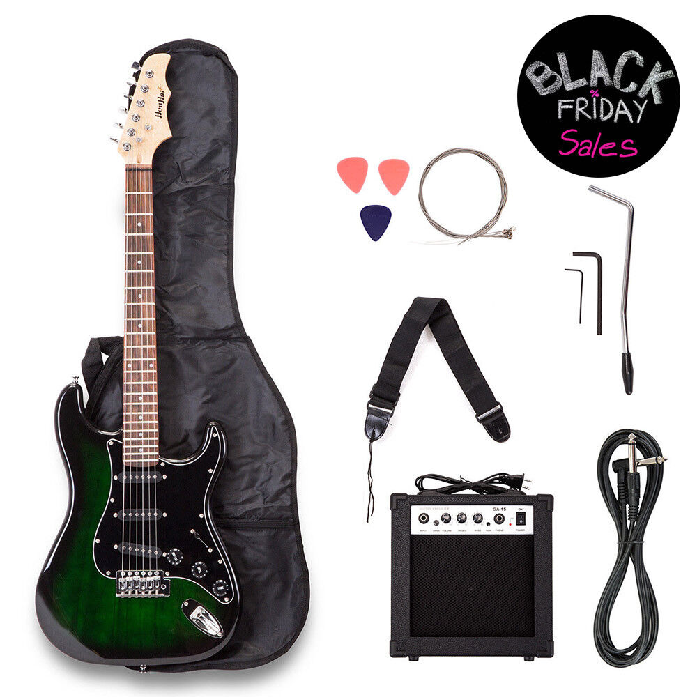 Electric Guitar w/ Guitar Case,15 w AMP,Strap & Pick Steel S