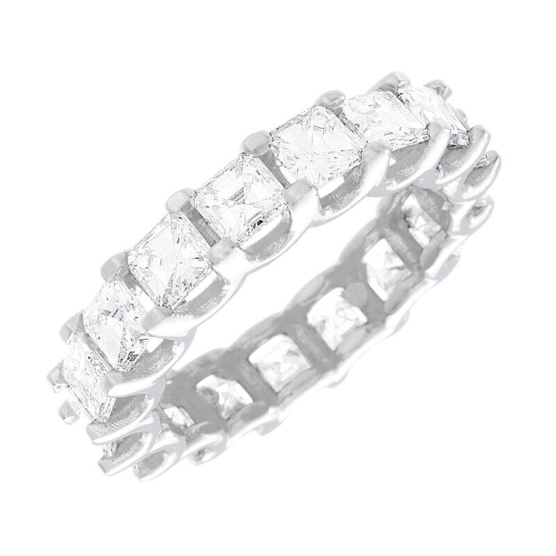 Platinum Asscher Shape Dia Certified Diamond Eternity Ring 3.80 Carat