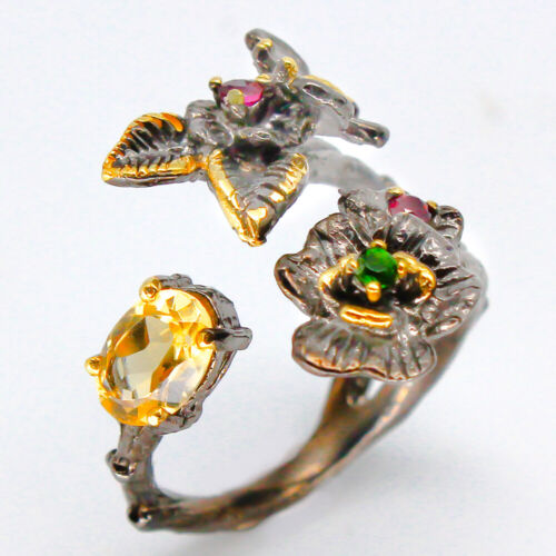 Handmade Jewelry Free shipping Natural Citrine 925 Sterling Silver Ring / RVS97