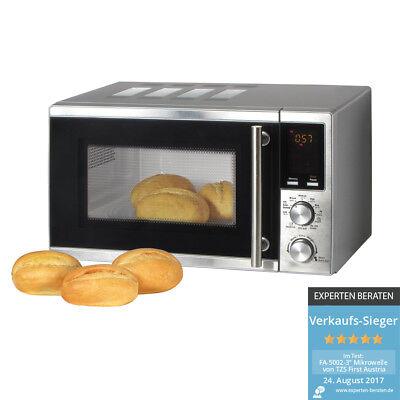Mikrowelle mit Grill 20 Liter und Pizza-Programm 1200 Watt Microwelle, Edelstahl