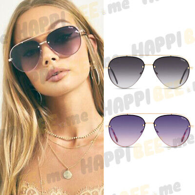 QUAY AUSTRALIA Long Story Aviator Sunglasses + Protective Case Fade Metal (Sunglass History)