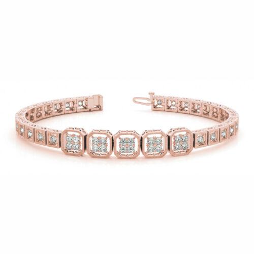 1.4 Carat Si1white Round Diamond Bracelet Vintage Style14k Rose Gold For Women