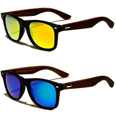(NEW Classic Retro Mens Fashion WOOD Vintage Vintage Designer Sunglasses Black)