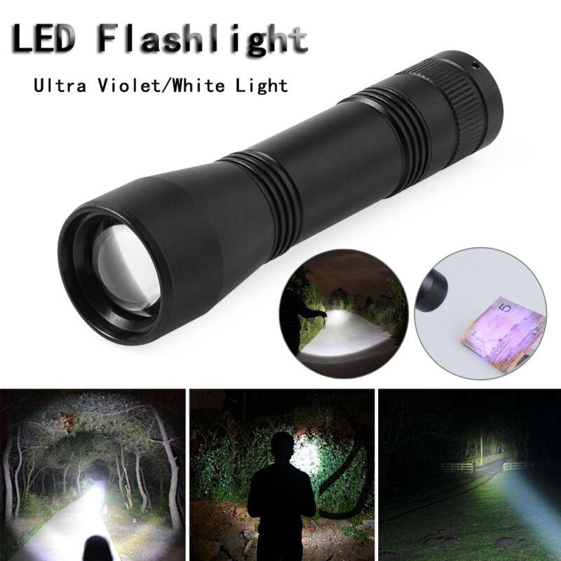 Waterproof Torch light 5 Mode  LED UV Flashlight 395nm Ultra Violet//White