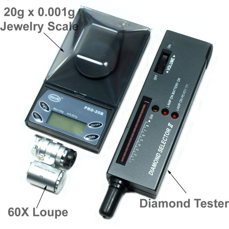 Jeweler Diamond Tool Kit: 20g x 0.001g Precision Scale Diamond Tester 60X Loupe