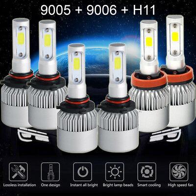 9005+9006+H11 LED Headlights Hi/Low Beam Bulbs 6000K Fog Lights 4500W 675000LM